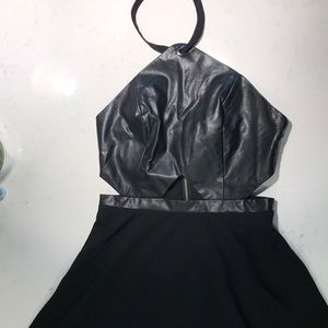 Black skater halter dress with cutouts